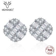 Viennois Fashion 925 Silver Stud Earrings White Square Earring for Women Earrings Jewelry u 001 viennois fashion women elegant silver bracelet