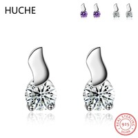 HUCHE Romantic Earrings with Stones Sterling Silver Jewelry 925 Silver Stud Earrings for Women Fashion Brincos Bijoux CZ ZB49