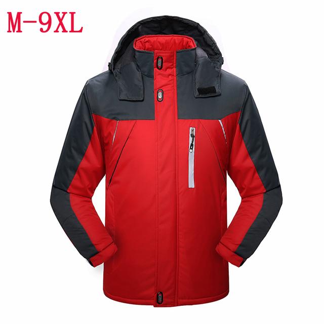 2016 outono inverno novo revestimento dos homens Além de veludo espessamento casaco quente Magro dos homens casual jacket brasão tamanho M-4XL 5XL 6XL 7XL 8XL 9XL