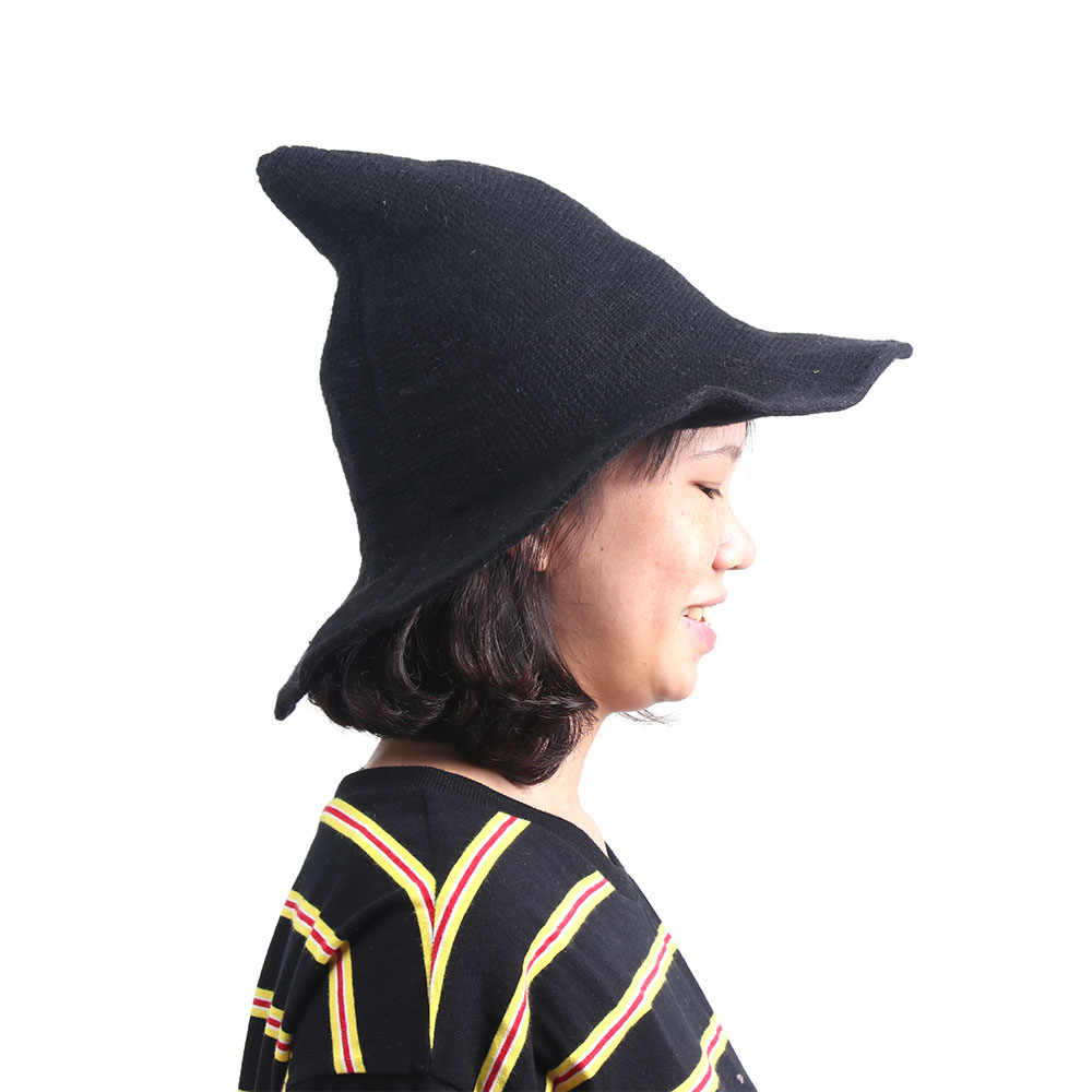cf60eb64148 Witch Hat Diversified Along The Sheep Wool Cap Knitting Fisherman Hat  Female Fashion Witch Pointed Basin