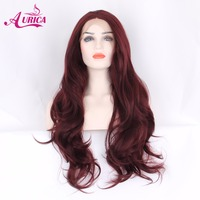Aurica Burgundy 99J Heat Safe Synthetic Hair Lace Front Wig For Women