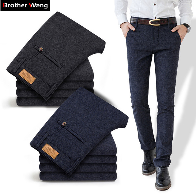 2019 Autumn New Men's Slim Business Casual Pants Fashion Elasticity Male Trousers Brand Clothing