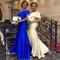 Vestido de Festa Champagne Azul Real de dama de Honor Vestidos de Sirena Cuello En V Piso-Longitud Por Encargo Del Partido Vestidos Largos Vestidos Baratos