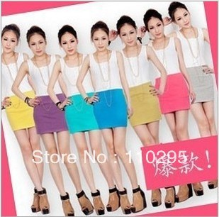 Fashion lady thread cotton mini-skirts candy color dress short skirt tight skirt 8 colors free shipping