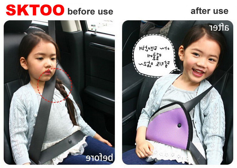 SKTOO New Car Safe Fit Seat Belt Adjuster Triangle Child Car Safety Belt Adjuster Children Resistant Safety Seat Belt