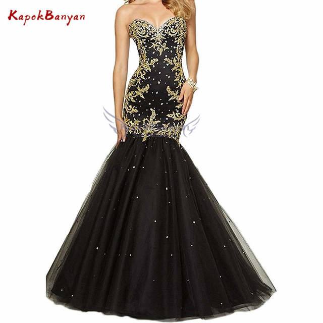 5681a0dd63 Gold Applique Long Mermaid Prom Dress Sweetheart Lace-up Rhinestones Tulle  Trumpet Party Ball Gown