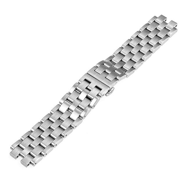 22 mm de aço inoxidável pulseira borboleta fivela faixa de relógio pulseira para Pebble aço 2 prata w / de removível