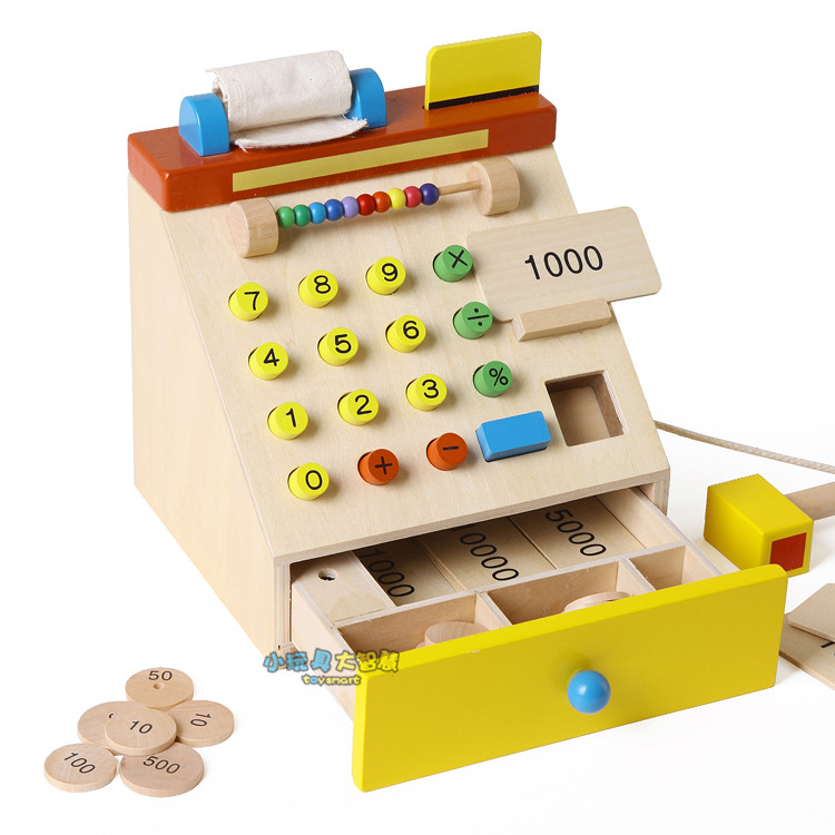 Free Shipping!Baby Toys Simulation Cash Register Wooden Cash Register Child Educational Pretend Play Furniture Toys Gift