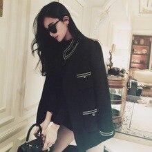 high quality women's black wool coat 2016 winter fashion slim mandarin collar long style warm wool outwear coat outfit
