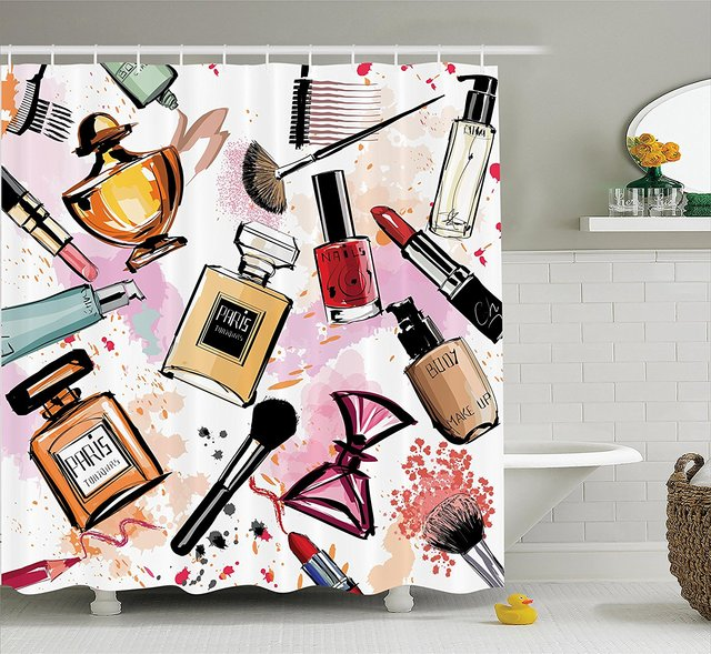 Girly Decor Shower Curtain Set Cosmetic And Make Up Theme Pattern With Perfume Lipstick Nail