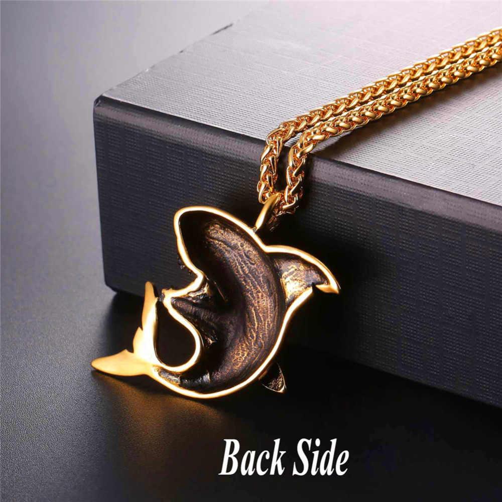 Kpop Stainless Steel Shark Pendant Necklace Gold/Black Color Wholesale Trendy Fish Animals Jewelry Necklaces & Pendants GP295
