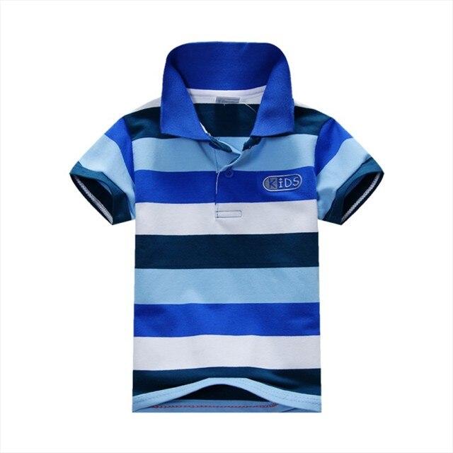 קיץ ילדי חולצת טי ילדים בני תינוק כותנה פסים חולצה קצר שרוול למעלה גודל S-XXL