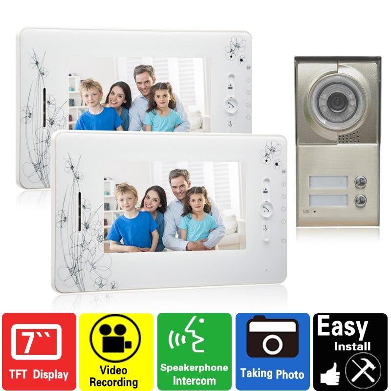 7 inch  video doorphone intercom system  video door phone speaker doorbell 2 monitor 1 outdoor video recording photo taking