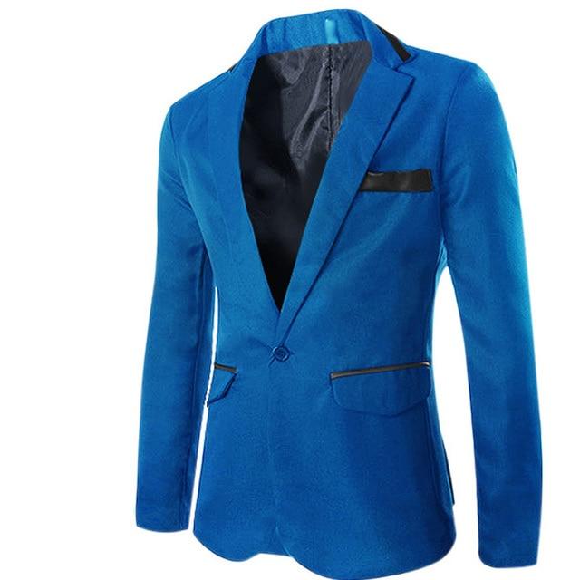Блейзер Мужчин Slim Пиджак ternos masculinos Марка Blaser Плюс размер 3XL Британский Стенд Воротник Блейзер тонкий Куртки Пальто Ternos