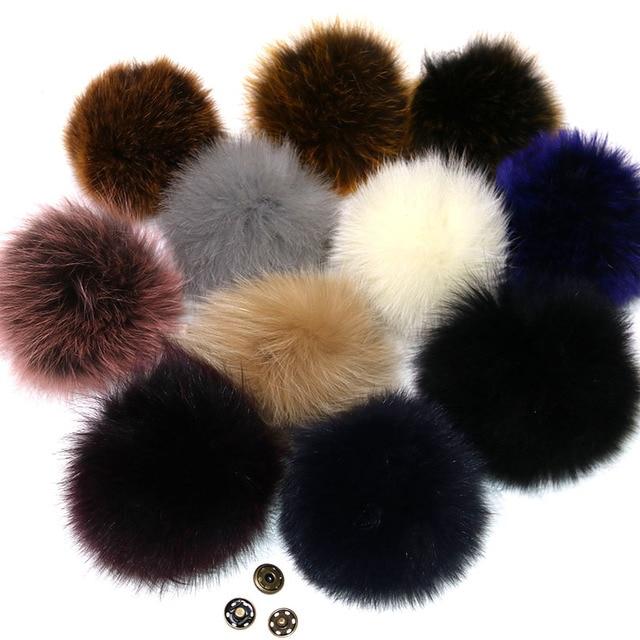 Real Fox Fur Pompom Fur Pom Poms Ball for Hats & Caps Big Natural Fur Pompon Ball For Shoes Hats Bags Accessories Genuine Fur