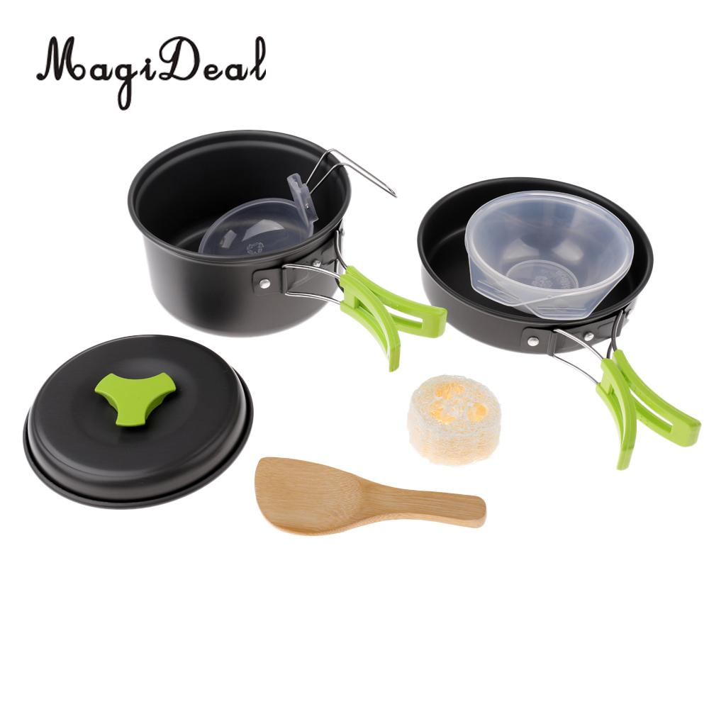 MagiDeal Portable Camping Cookware Frying Pan Skillet Bowl Spoon Cooking Supplies Set for Easy Carry Hiking Outdoor Tableware