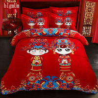 Chinese Style Red Bedding Sets Twin Queen Size Quilt Cover+Sheet +Pillowcases 4Pcs Bed Set 100% Cotton For Wedding Marriage Room