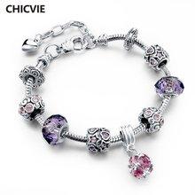 Chicvie фиолетовые регулируемые кольцеобразные браслеты очаровательные