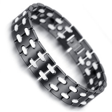 Mens Tungsten Bracelet, Black & White Trendy Magnetic Health Care Jewelry KB1495