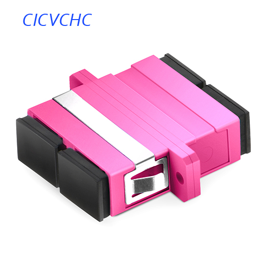 50pcs SC-Duplex-Pink-with Flange /Optical Fiber Adapter