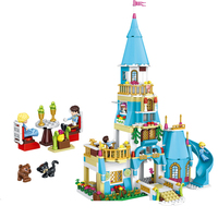 Snow Queen Anna Princess And The Prince Sparkling Ice Castle Brick Assembly Model Toy 561pcs Blocks