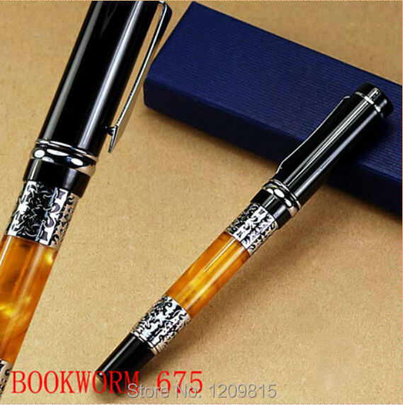 Hot sell-BOOKWORM 675 silver flower amber celluloid roller ball pen School office stationery luxury writing ball pens luxury new brand classic gray leather grape pattern roller ball pen classic blance pen mb stationery hot sell