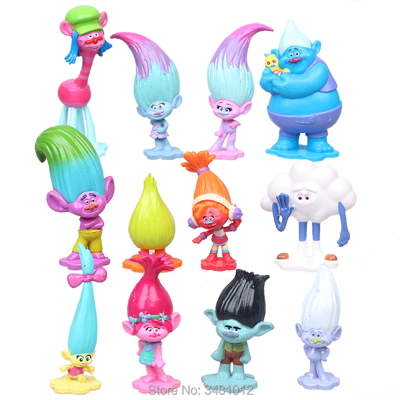 Trolls Movie Poppy Branch DJ Suki Biggie PVC Action Figures Creek Cooper Cloud Guy Dolls Anime Figurines Kids Toys For Children