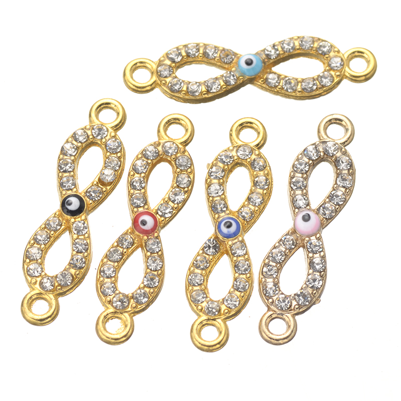 10pcs gold colors evil eye infinity letter white crystal charms zinc alloy metal connectors for jewelry