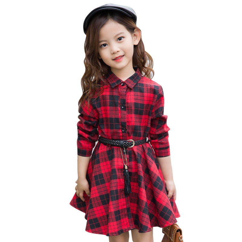 Elegant Girls Casual Long Sleeve Plaid Shirt Dress With Belt Fashion Teenager Cotton Dresses size 4 5 6 7 8 9 10 11 12 13 Years