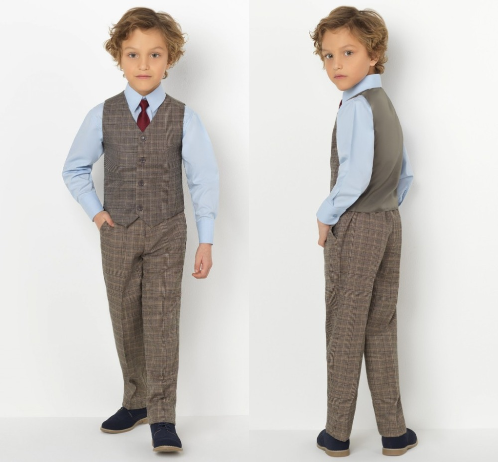 2019 New Arrival Boys' Attire Peaked Lapel Kids Suits Custom Made Clothing Set 2 Pieces Prom Suits (Pants+Tie+Vest) 020