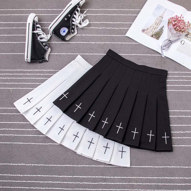 S-XL 2019 Pleated Skirt Women Harajuku Sweet Fresh Feeling High Waist Pleated Skirt Elastic Waist Cross Embroidery Skirt