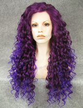 N18-3700/3700L Stunning Curly ombre purple braiding hair Synthetic Lace Front Wig Rupaul Wig Cosplay wig