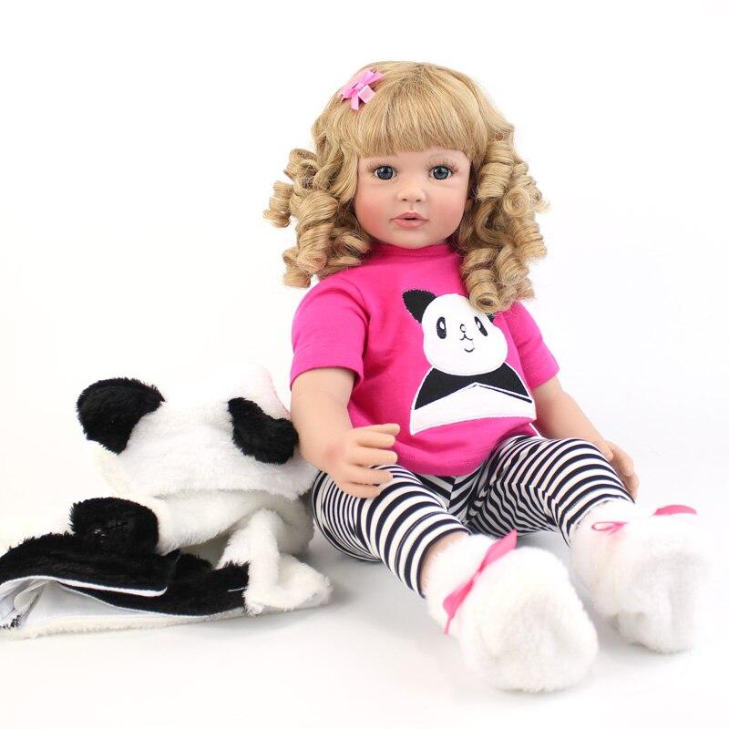 """Oyuncaklar ve Hobi Ürünleri'ten Bebekler'de 60 cm Reborn Yürümeye Başlayan oyuncak bebekler 24 """"Vinil Bacaklarda Sarışın Prenses Yürümeye Başlayan Canlı Kız Bebek Panda Oyun Evi Oyuncak'da  Grup 1"""