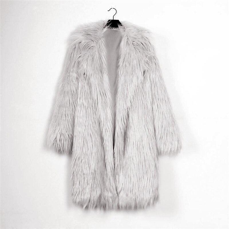 Men's Coat Faux Fur Jacket Men's Faux Fur Fur Coat Autumn Winter Long Trench Coat Color White/Gray/Black/Pink/Inky Green