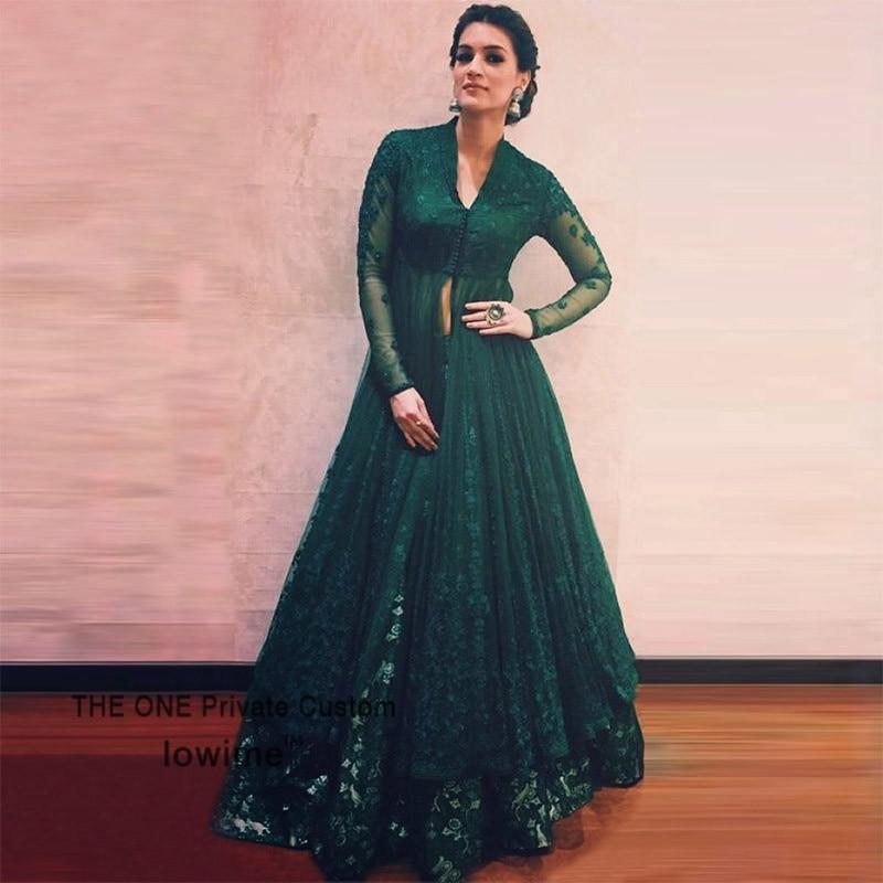 Indian Wedding Long Gowns: Green Turkish Kaftan 2017 Indian Saree Lace Long Sleeve