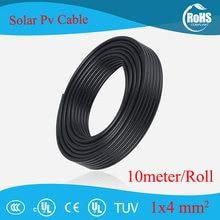 10 medidores/rolo 4mm2 (12awg) cabo solar vermelho e preto pv cabo condutor de cobre xlpe revestimento tuv certifiction