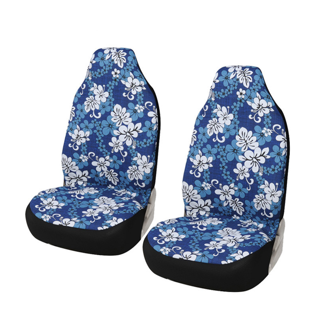 Dewtreetali 2pcs Car Bucket Seat Covers Blue Flower Print Cotton Car Accessories Universal Fit Front Seat Covers Protectors