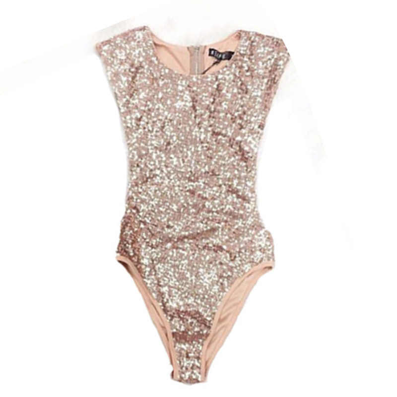 2019 новый сексуальный блестками высокой талией женский большой Размеры боди Ретро золотой блеск без рукавов костюм Винтаж пляжная одежда