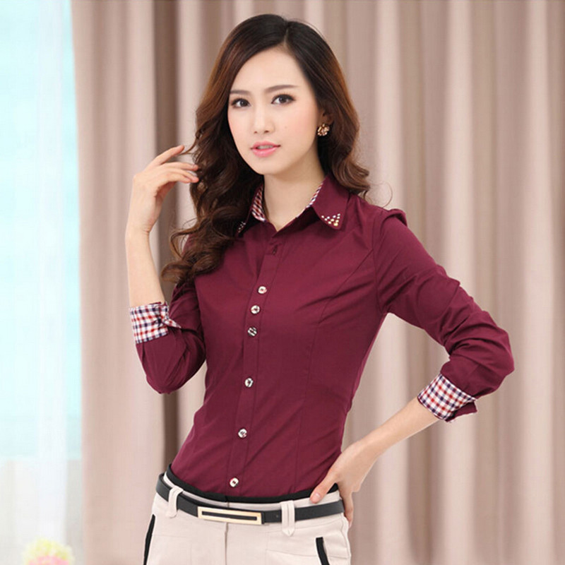2fe2437839ab 2015 OL Women Office Shirts Ladies' Long Sleeve Shirts Women Work Shirts  S-4XL