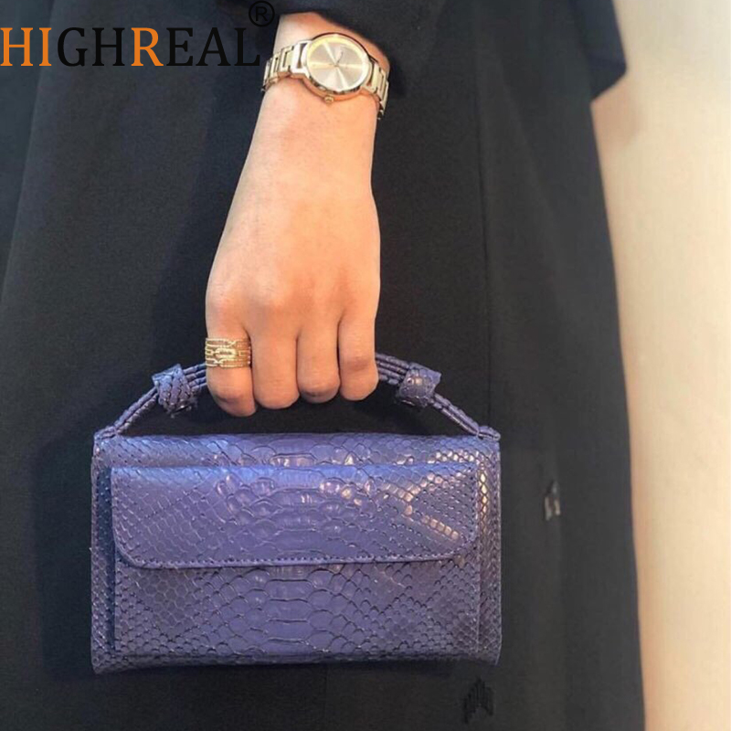 HIGHREAL Crocodile Pattern Leather Clutch Women Cowhide Leather Day Clutch Handbag Shoulder Chain Bag Drop Shipping