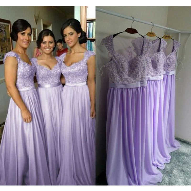 2017 Lilac Lavender Long Bridesmaid Dress Nigerian Wedding Ceremony Dress  Maid of Honor Lace Wedding Party b06118703c91