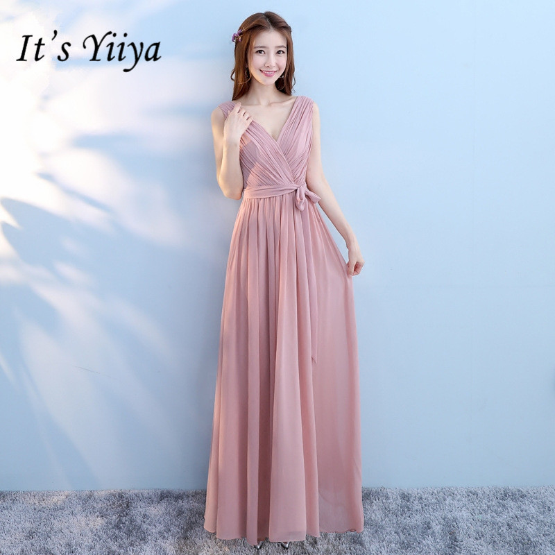 It's YiiYa Summer A-line Sleevelss V-neck   Bridesmaid     Dresses   Fashion Pink Floor-length Illusion Tulle Frocks QH001