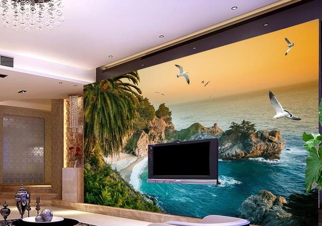 Customize 3d Wallpaper Walls HD Sea View Wallpapers For Living Room Stereoscopic Mural