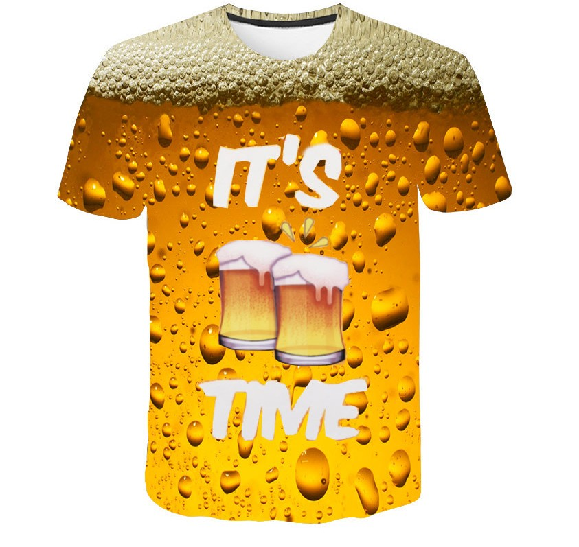 Cool Summer Beer Full Print T Shirt Novelty Short Sleeve Tee Top Man Unisex Outfit High Quality Causal Dropship T-shirt image