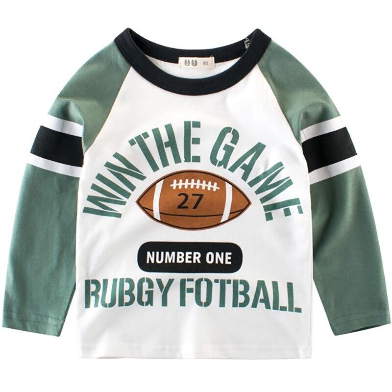 Boys T-Shirts Cute Fun Rugby Football Girls Tops Autumn Winter Kids Clothes Children Long Sleeve Tshirts Toddler Cotton T Shirts