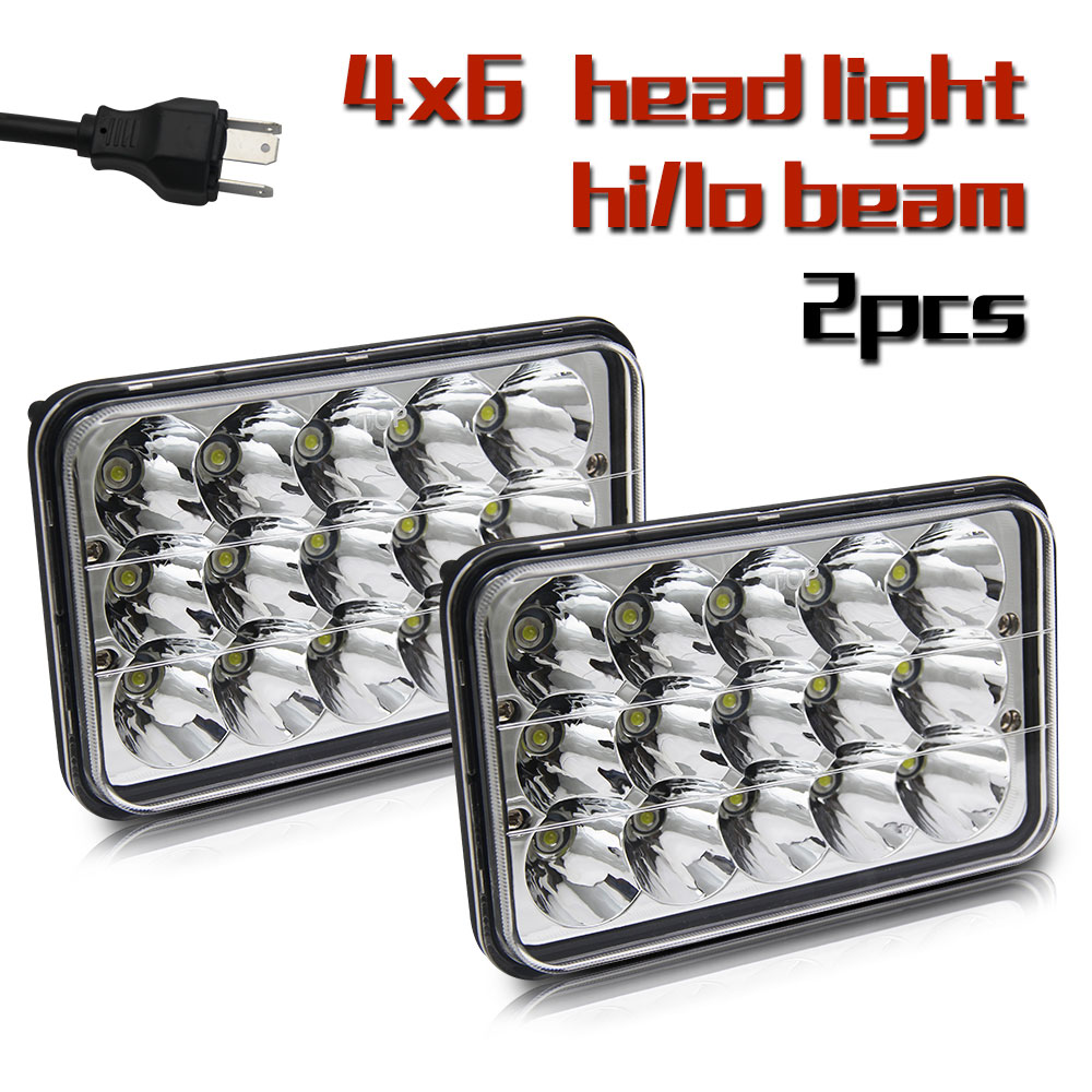 1 Pair 4X6 Led Headlight 45W Hi Lo 6500K DRL Car Light Replace for H4651/H4652/H4656/H4666 Tractor Kenworth Chevrolet