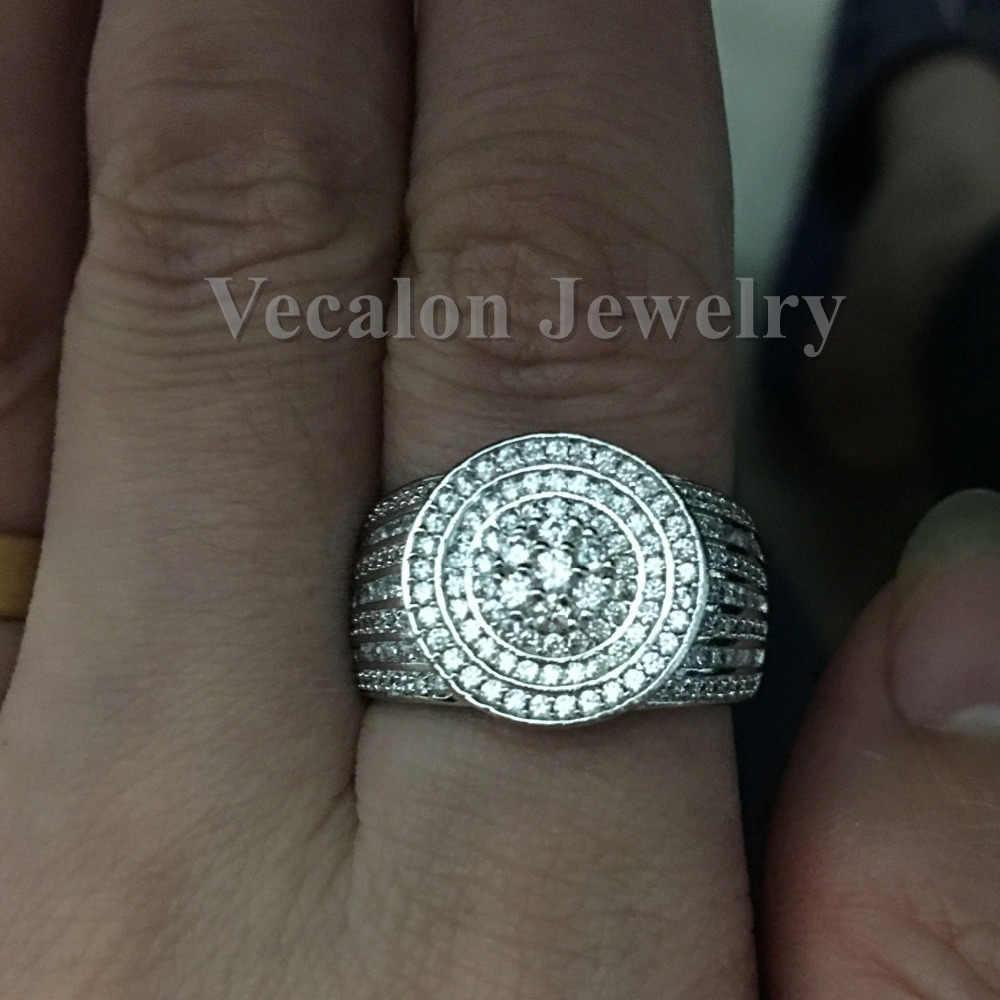 Vecalon Настройка канала для женщин и мужчин кольцо 240 шт. AAAAA Циркон Cz 925 пробы серебро Пара обручальное кольцо подарок