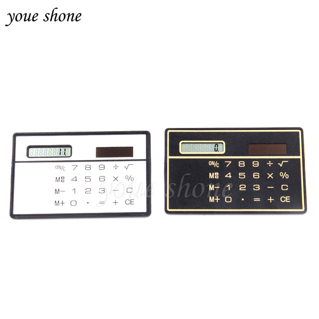 1pcs Mini Slim Credit Card Calculator Solar Power Pocket Novelty