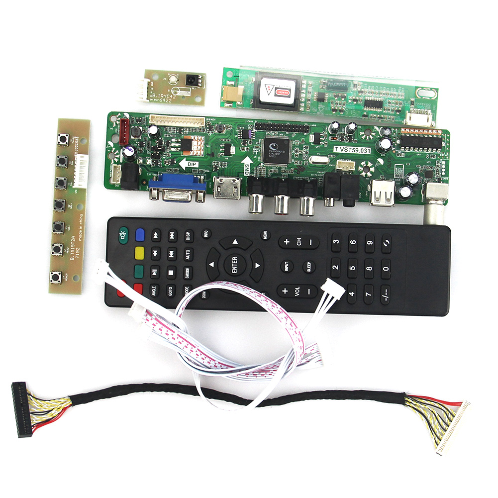 T.VST59.03 LCD/LED Controller Driver Board For LP154WX4-TLC8 (TV+HDMI+VGA+CVBS+USB) LVDS Reuse Laptop 1280x800 lcd led controller driver board for b156xw02 ltn156at02 t vst59 03 tv hdmi vga cvbs usb lvds reuse laptop 1366x768