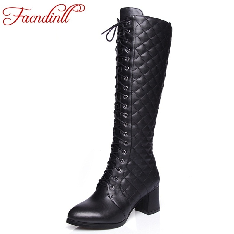 FACNDINLL High quality embroider leather knee high boots women high heels winter boots comfortable lace-up warm riding boots 2016 new fashion winter knee high boots high quality personality knee high boots comfortable genuine leather boots